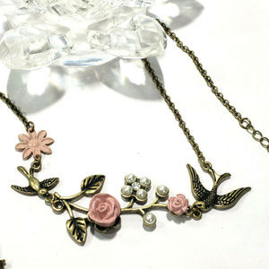 Antique Gold Bird & Pink Roses Necklace Pearls